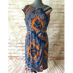 NWOT: DRESS BARN Wrap Geo Print Dress Sz 12
